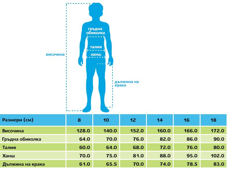 Размери на детски дрехи Mayoral 8-18 години